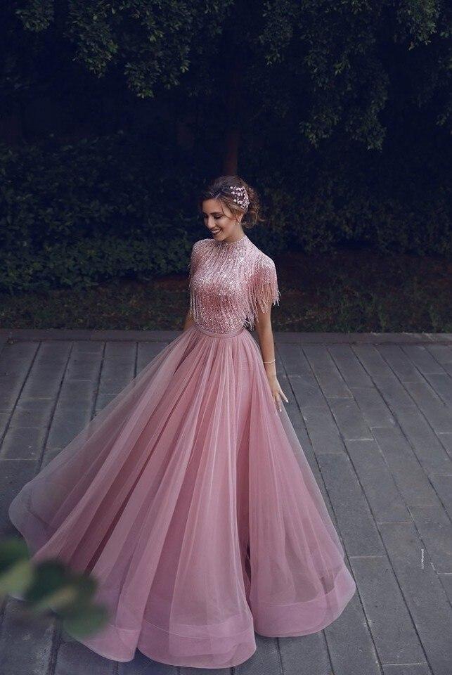 Abendkleider 2019 Staubigen Rosa Pailletten Abendkleider Quaste Tutu A linie Prom Kleider Muslimischen Hohen Kragen Formale Kleider - 2