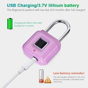 Image 2 - Towode zamek do drzwi z czytnikiem linii papilarnych torba na bagaż bezkluczowy zamek do drzwi USB akumulator zabezpieczenie przed kradzieżą kłódka na odcisk palca