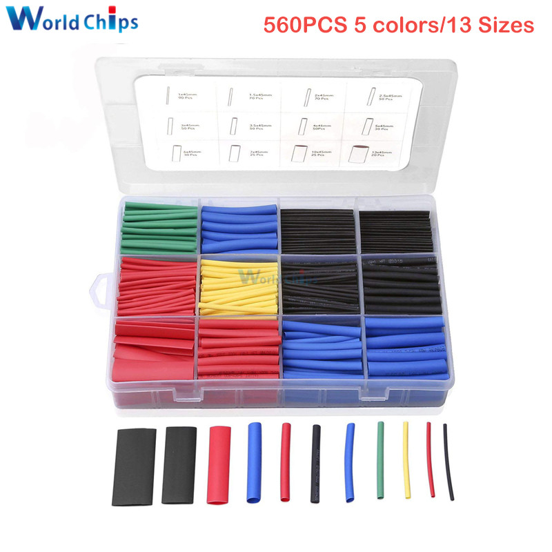 560PCS Heat Shrink Tubing 2:1 Electrical Wire Cable Wrap Assortment Electric Insulation Heat Shrink Tube Kit 13 Sizes With Box