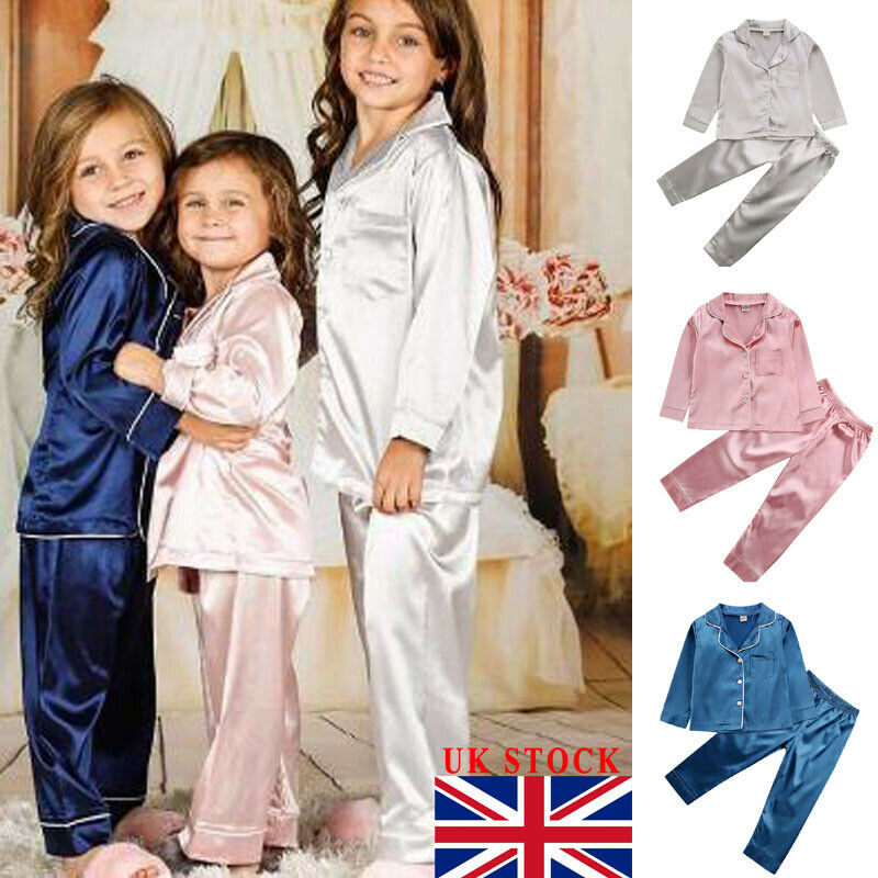2019 Toddler Baby Boy Girl Silk Satin Top Pant Pajamas Long Sleeve Solid Button-Down Pyjamas Satin Set Child Sleepwear Nightgown