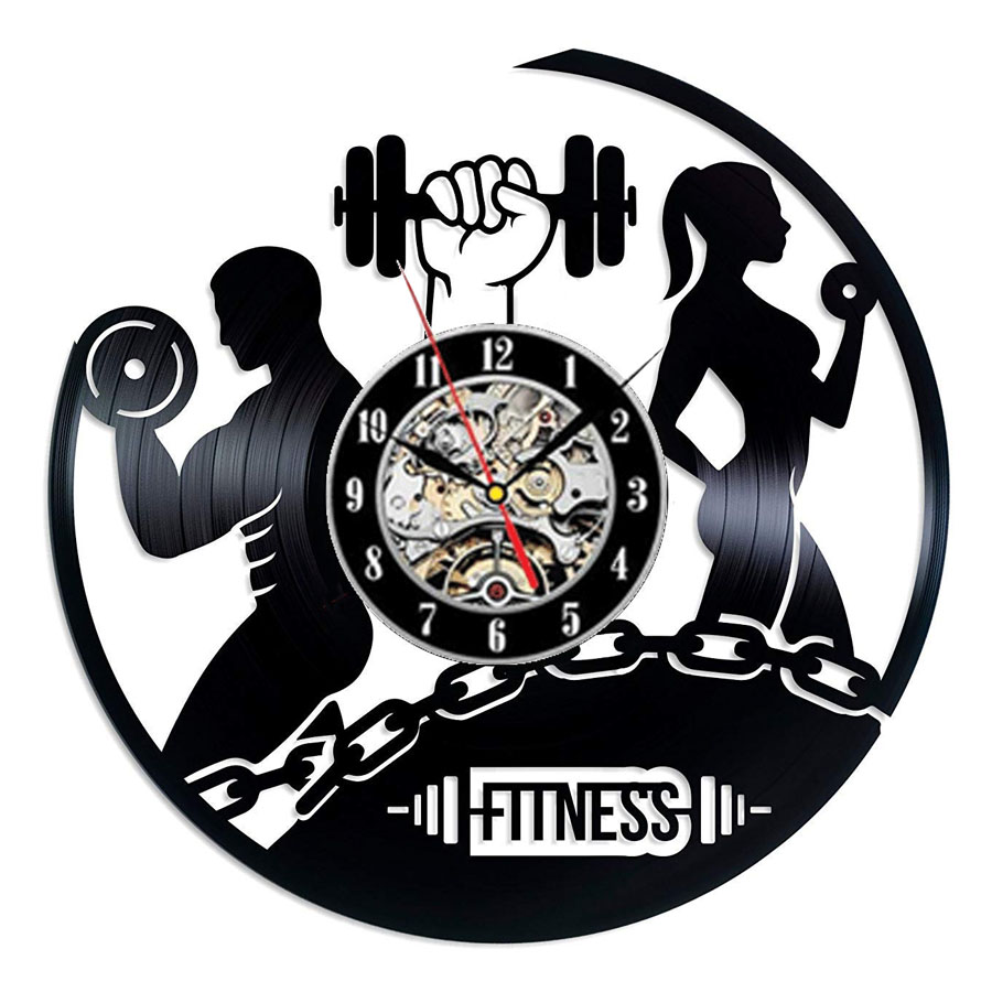 Fitness Gym Vinyl Record Wall Clock Modern Design Bodybuilding No Pain No Gain 3D Decoration Vintage Clock Wall Watch Home Decor