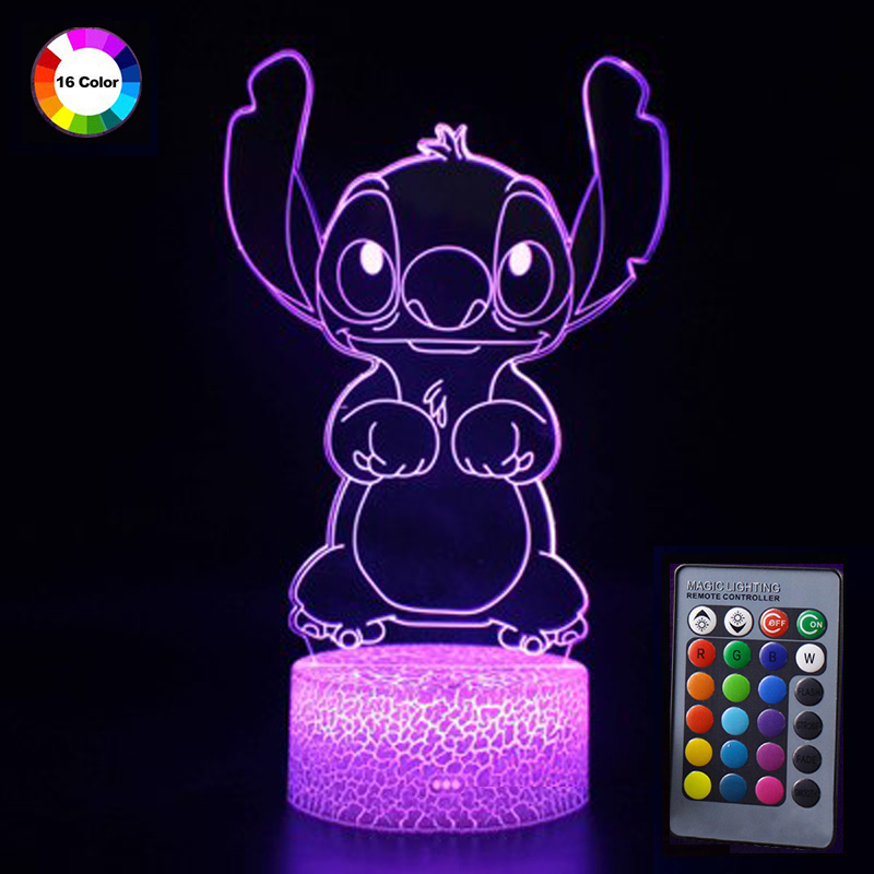 3D Lamp Illusion Night Light Remote Control Cute Cartoon Stitch LED Night Table Lamp 16 Colors Bedroom Decor Children's Gifts