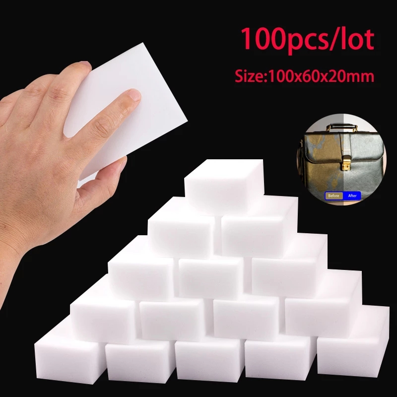 100 шт., меламиновые губки, волшебная губка, ластик, кухонная меламиновая губка, очищающая губка для офиса, ванной комнаты