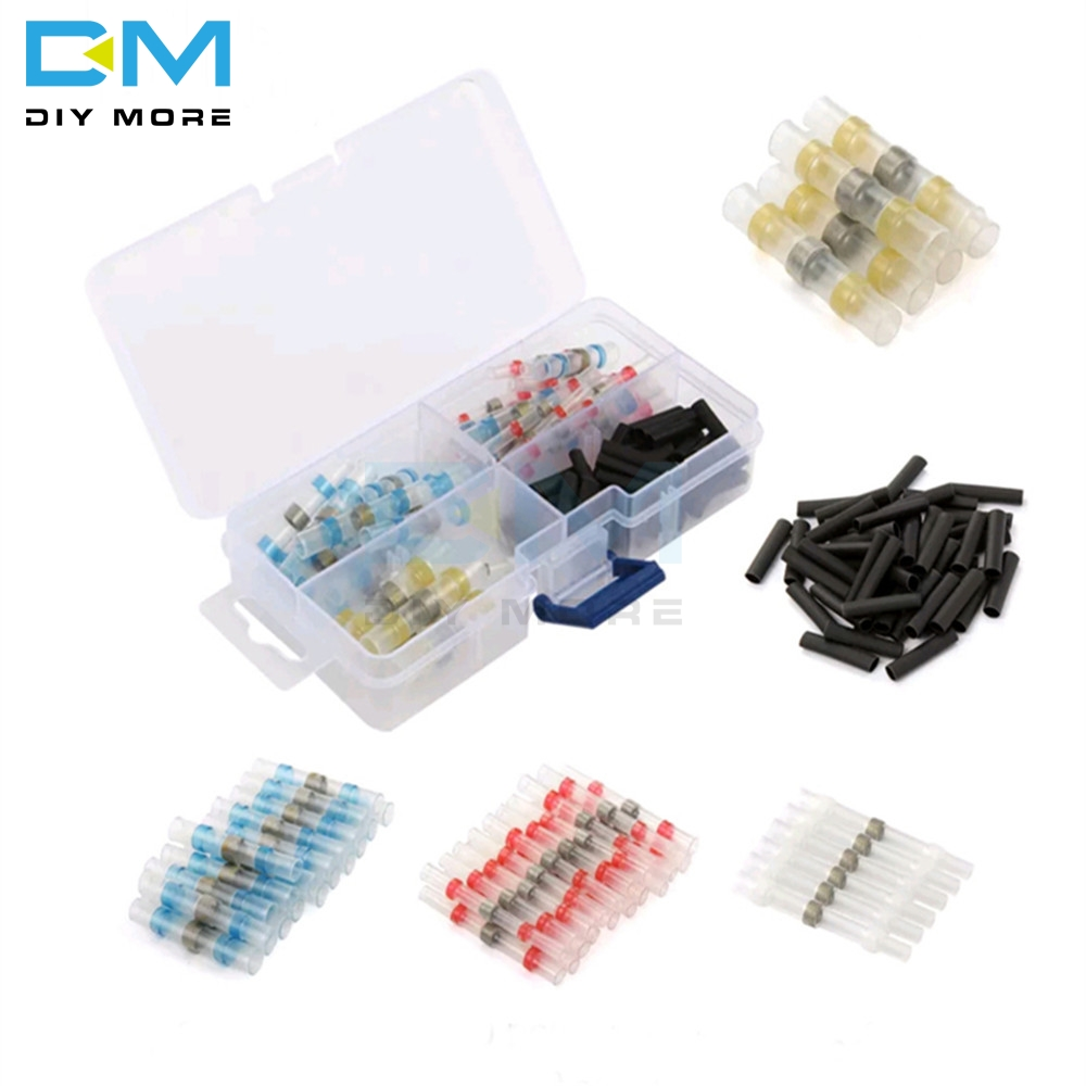 100pcs Polyolefin Heat Shrink Tube Sleeves Solder Seal Shrinkable Splice Waterproof Wires Connectors Cable Terminal With Box