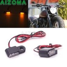 Black 12V Mini LED Turn Signal Light Indicators Flashing Handlebar Blinker For Harley Sportster Dyna Softail Touring Cafe Racer