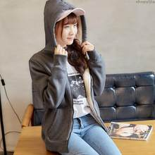 New women's winter college wind loose students plus velvet solid color hoodies Jacket lamb hair Hooded sweatshirt hoodie(China)