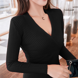 15 colors 2019 Sexy Deep V Neck Sweater Women's Pullover Slim Sweaters Female Elastic Long Sleeve Tops Femme (N0021) 2