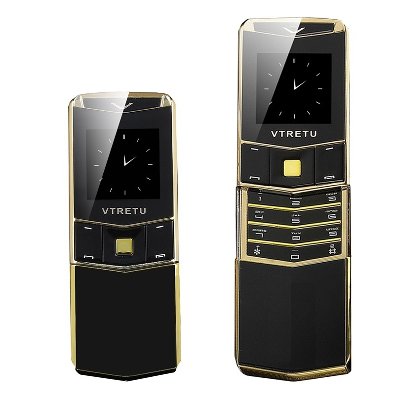 Luxury Metal Signature Phone 2G GSM Special Style Business Slider Slim Cool Mini Card Phone BT Dial Vibration Anti Lost