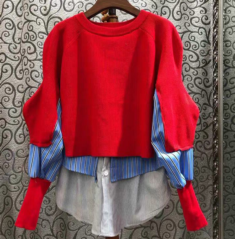 2020 Spring New Fashion Loose Sweater Shirt Large Size Korean Version Plaid Striped Shirt Patch Knitted Sweater Pullovers Junper