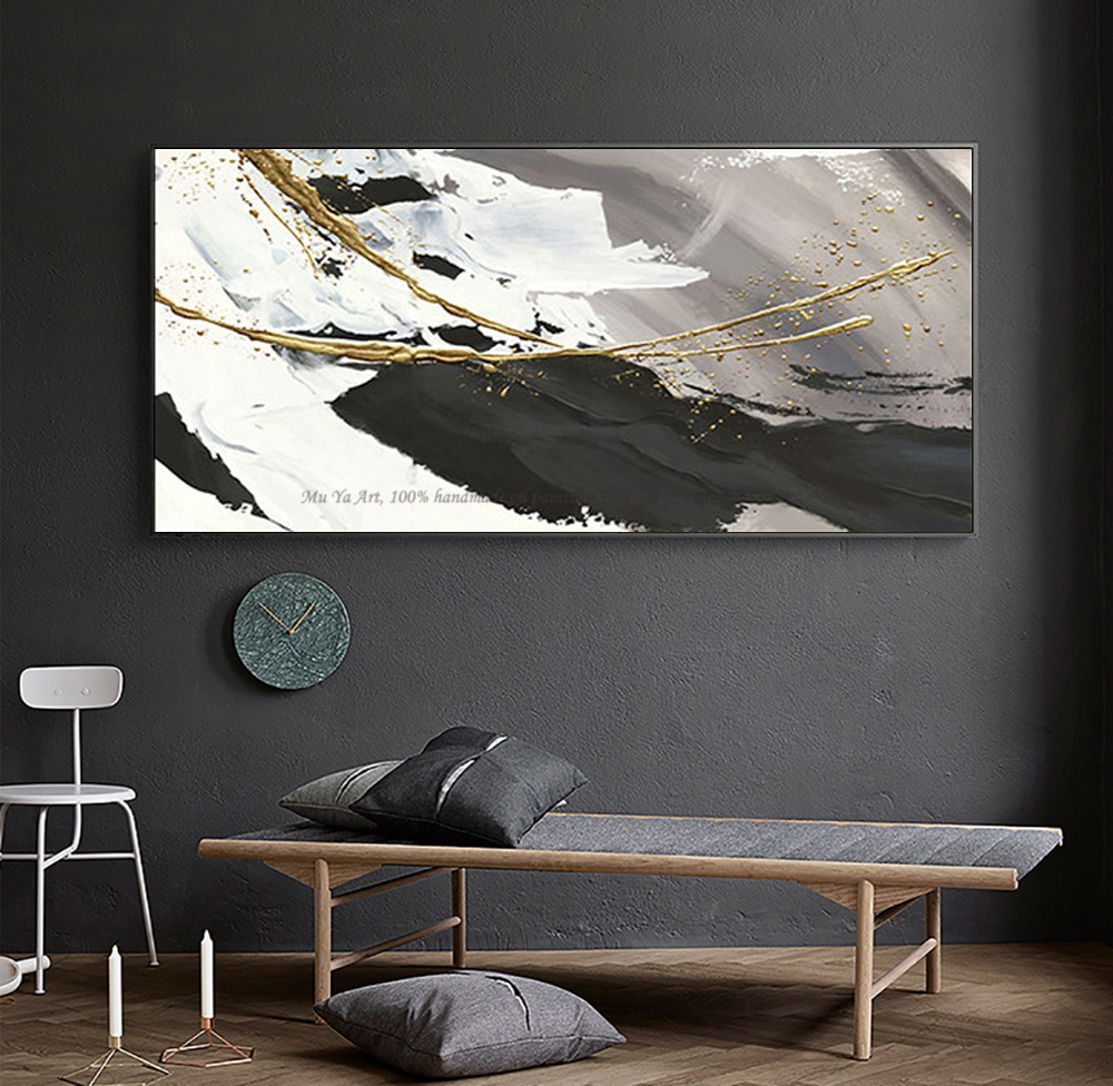 Image 5 - Hand painted oil painting canvas abstract black and white gold 