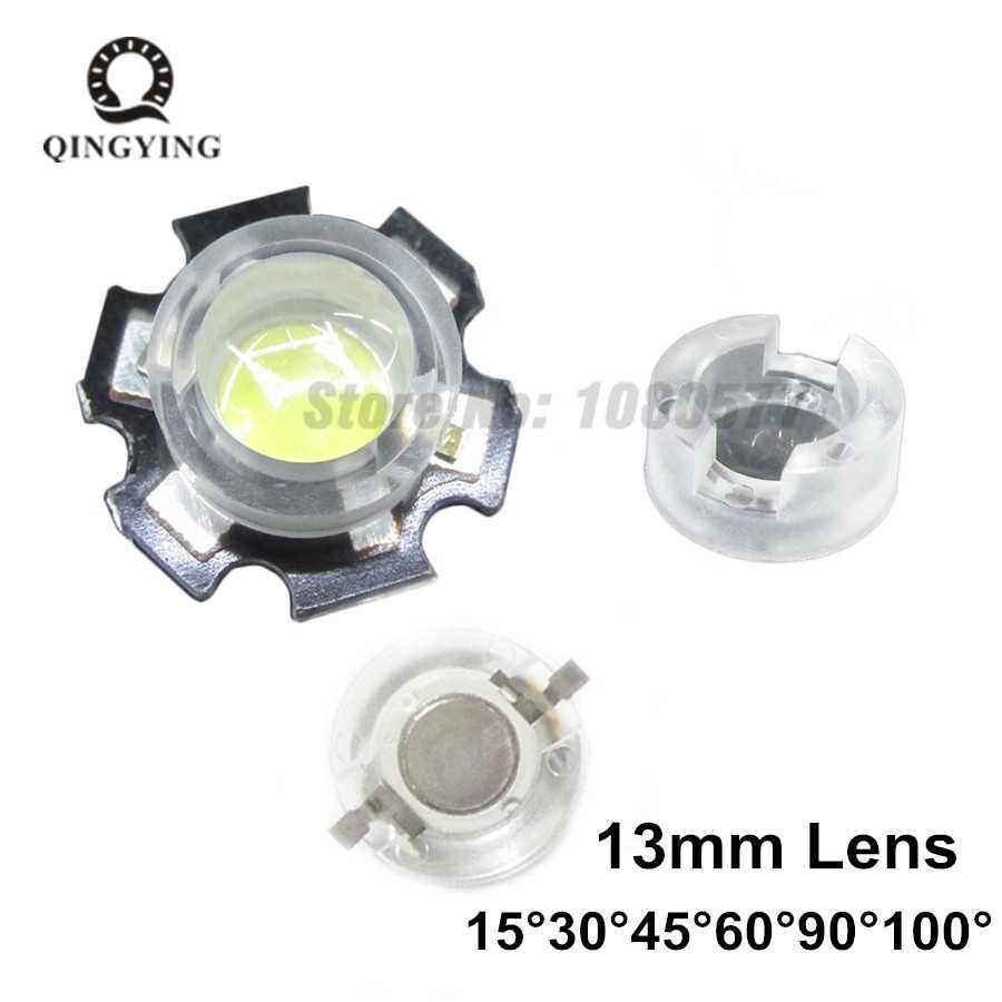 100 piezas 13mm mini lente LED 1W 3W 5W 15 30 45 60 90 100 grado no necesita soporte para lentes convexas de PCB LED ópticas IR CCTV
