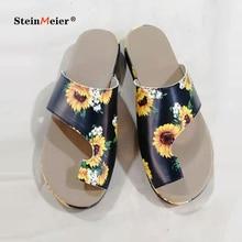 Women PU Leather Shoes Comfy Platform Flat Sole Ladies Casual Soft Big Toe Foot Correction