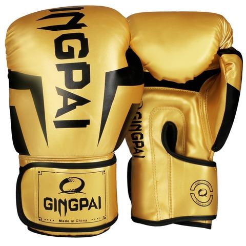 Luvas de Boxe Luva de Boxe Treinamento de Luta para Mulheres dos Homens Qualidade Dourado Adulto Kick Muay Thai Grappling Mma Luva Boa