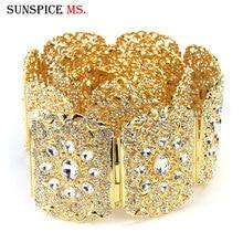 Sunspicems Moroccan Wedding Caftan Belt for Women Gold Silver Color Full Rhinestone Wide Size Adjustable Length Bridal Gift 2020