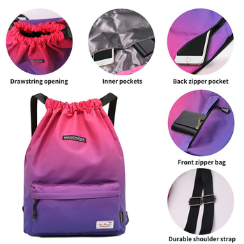 Women Drawstring Gym Bag Waterproof Sports Bag Outdoor Backpack For Training Girls Travel Swimming Fitness Bags Softback Student 2