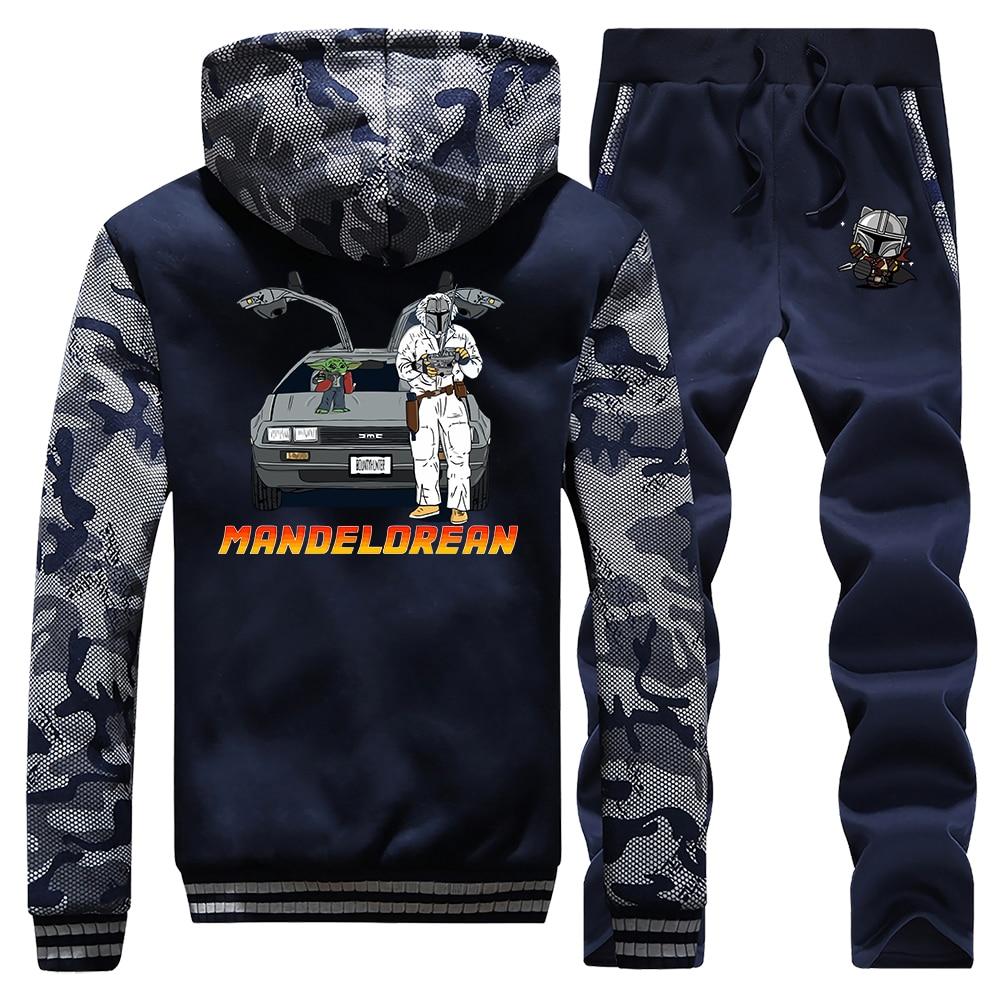 TV Show The Mandalorian Tracksuit Thick Fleece Suit 2020 Spring Hoodie Baby Yoda Back To The Future Hoodies Sweatshirt + Pants