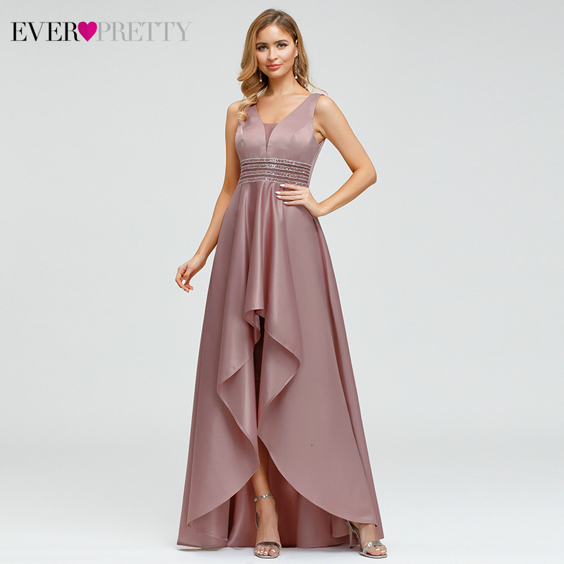 Sparkle Satin   Evening     Dresses   Ever Pretty EP00877 Sequined Asymmetrical Double V-Neck Sleeveless Sexy Formal Gowns Abendkleider