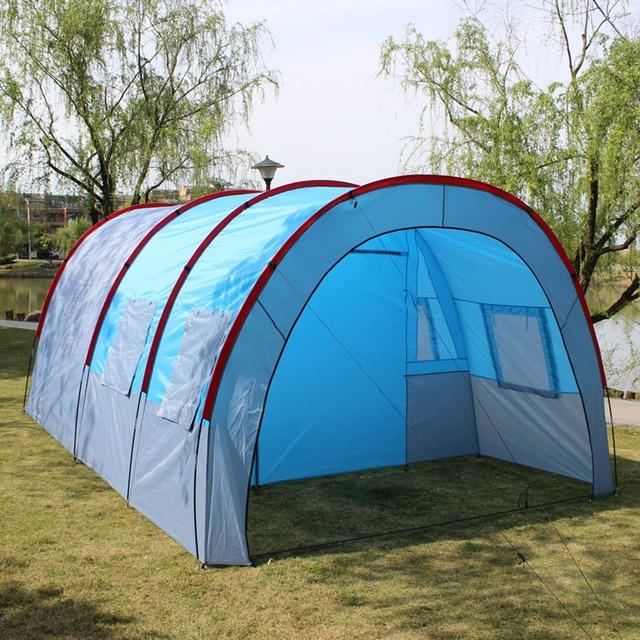 אוהלי קמפינג חיצוני גדול קמפינג אוהל עמיד למים בד פיברגלס 5 8 אנשים משפחה מנהרת 10 אדם אוהלי ציוד חיצוני
