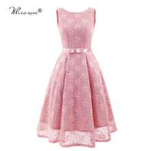 2020 Bridesmaid Dress 4 Colors Elegan Backless Lace Pink Dress Women Party for Girls O-neck Sleeveless Bow Vestido Madrinha stylish round neck 3 4 sleeve backless lace dress for women
