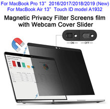 "Magnetic Privacy Filter Screens film with Webcam Cover Slider For 2016/2017/2018/2019 New MacBook Pro 13, Touch ID Air 13"" A1932(China)"
