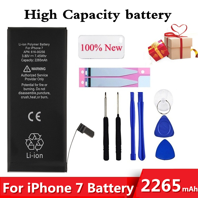 High Capacity 2265mAh Battery For Iphone 7 Battery For Iphone7 For Iphone 7G For Iphone7G Batteries Tools+Sticker