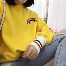 2018 new women's Harajuku rainbow hoodie autumn and winter  printing round neck long sleeve sweatshirt