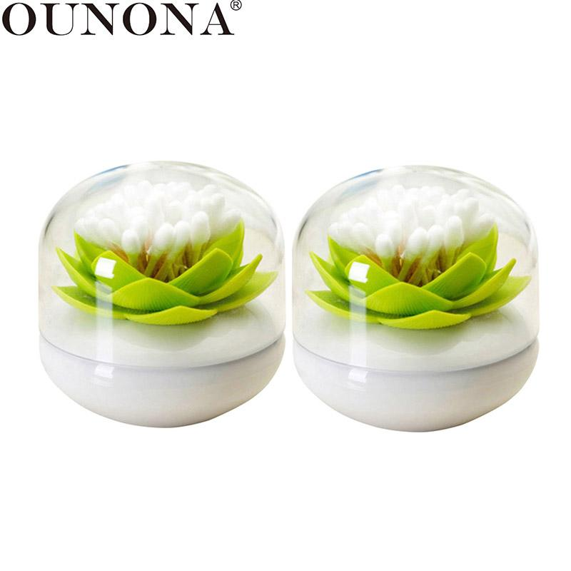 OUNONA 2PCS Lotus Cotton Swab Holder Toothpick Box Cotton Pads Toothpick Container For Dining Room Bedroom Livingroom