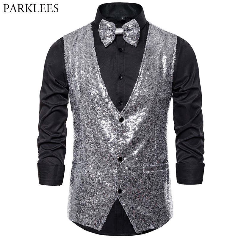 Mens Shiny Sequins Vests Silver Glitter Waistcoat Men Party Vest Bowtie Wedding Nightclub DJ Stage Men Gilet Suit Vest Masculino