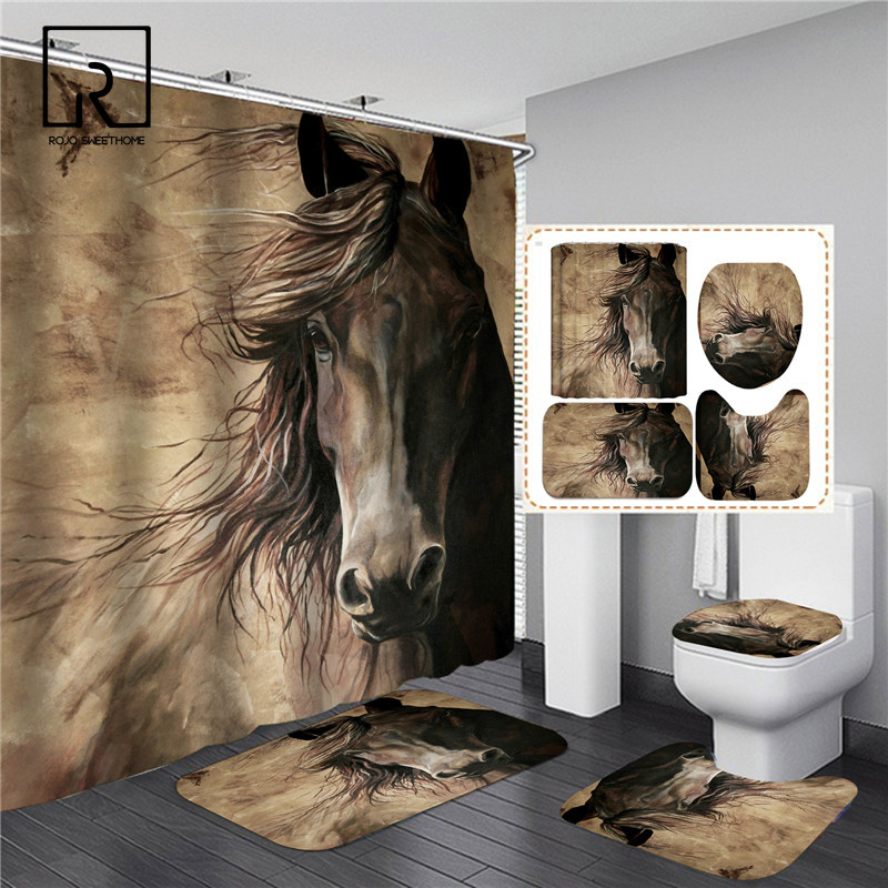 Running Horse Print Bathroom Set Shower Curtain with Anti-slip Flannel Bathing Mat Doormat Toilet Lid Cover Home Kitchen Carpet