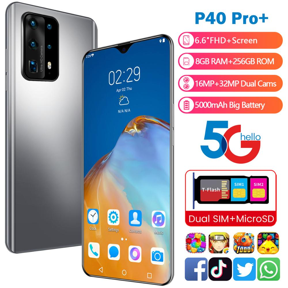 "Yeni akıllı telefon P40 Pro + Android 8GB RAM 256GB ROM 5000mAh Deca çekirdek CPU Huawe I cep telefon stok 6.6 ""32MP arka kameralar"