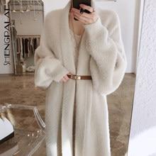 SHENGPALAE – Trench-Coat en fourrure de vison pour femme, élégant, ample, manches longues, chaud, couleur unie, avec ceinture, automne 2021, ZT1431