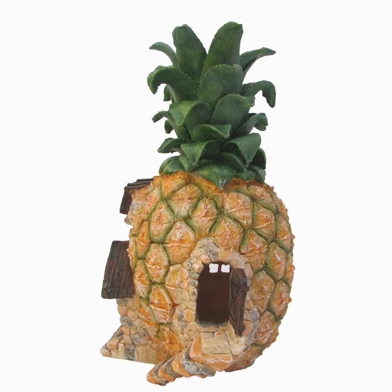 Decorative Large Pineapple Houses Figurine Diy Miniature Garden Decoration Accessories Crafts Statuette For Home Decor