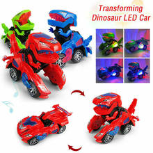 Transforming Dinosaur LED Car T-Rex Kids Toys With Light Sound Electric Xmas Gift(China)