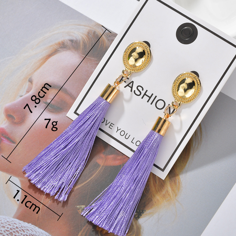 Ha6468576c4e04845a59a085a5132ccf32 - Bohemian Heart Tassel Long Drop Earrings BOHO Pink Blue Silk Fabric Design Dangle Earrings For Women Jewelry Gift Christmas