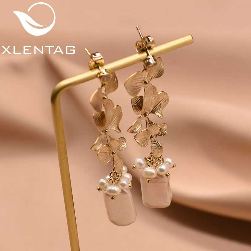 XlentAg Natural Fresh Water Baroque Gray Pearl Drop Earring For Women Original Design Long Tassel Dangle Earrings Brincos GE0318