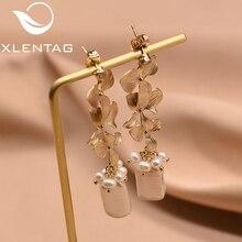 XlentAg Natural Fresh Water Baroque Gray Pearl Drop Earring For Women Original Design Long Tassel Dangle Earrings Brincos GE0318