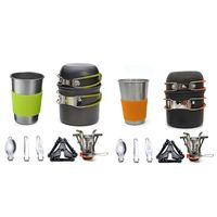 Camping Cookware Stove Carabiner Canister Stand Tripod and Stainless Steel Cup, Tank Bracket, Fork Knife Spoon Kit