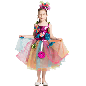 Image 4 - Girls School Performance Costumes Kids Rainbow Candy Knitting Dress Children Lollipop Modeling Tulle Ball Gown With Headband