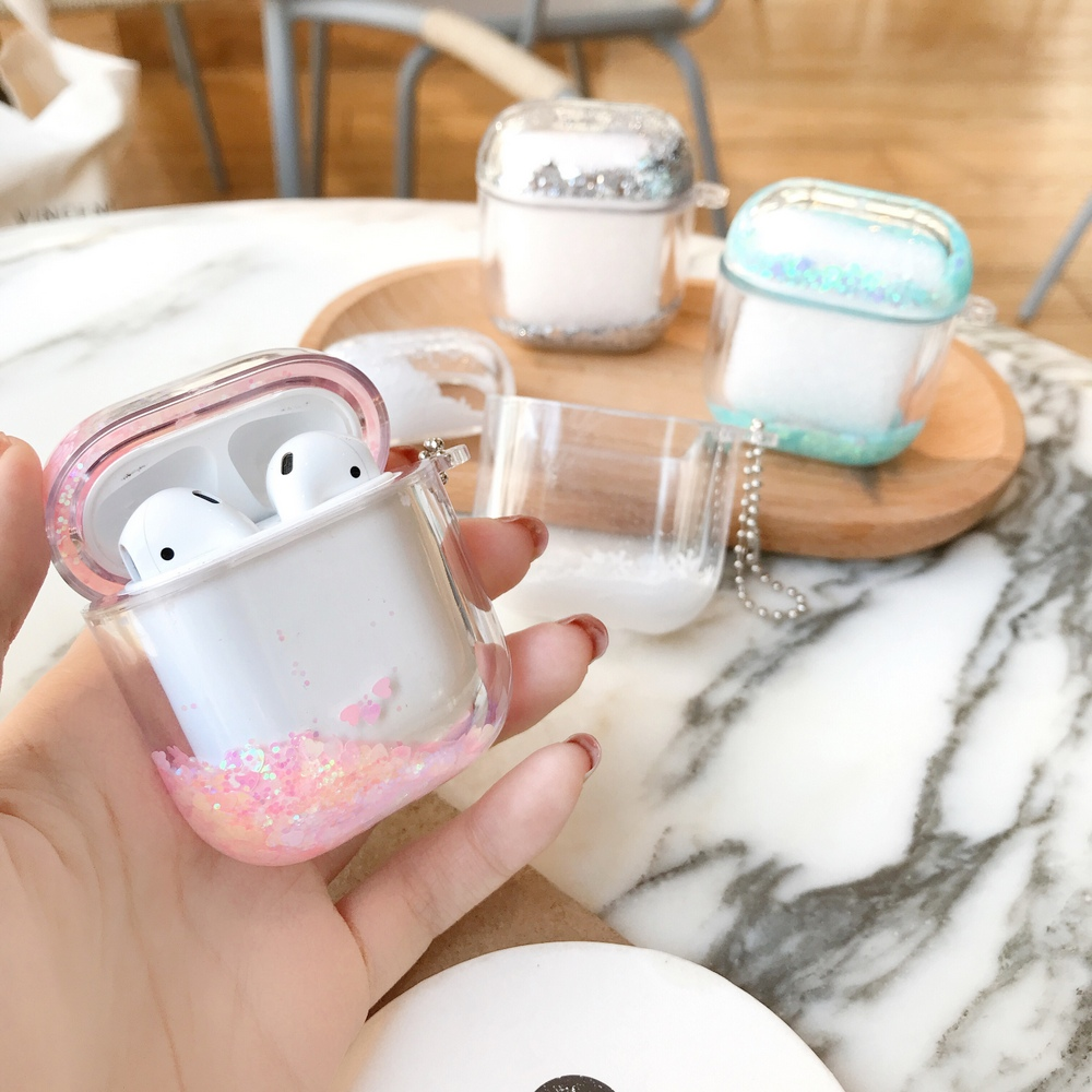 Colorful Glitter Dynamic Liquid Sequin Case For Apple Airpods 1/2 Transparent Crystal Clear Protection Earphone Cover With Chain