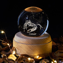 Cancer 12 Constellation 3D Ball Lamp LED Warm yellow Night Light Planetarium Novelty Light  Christmas Table Vadroom decoration