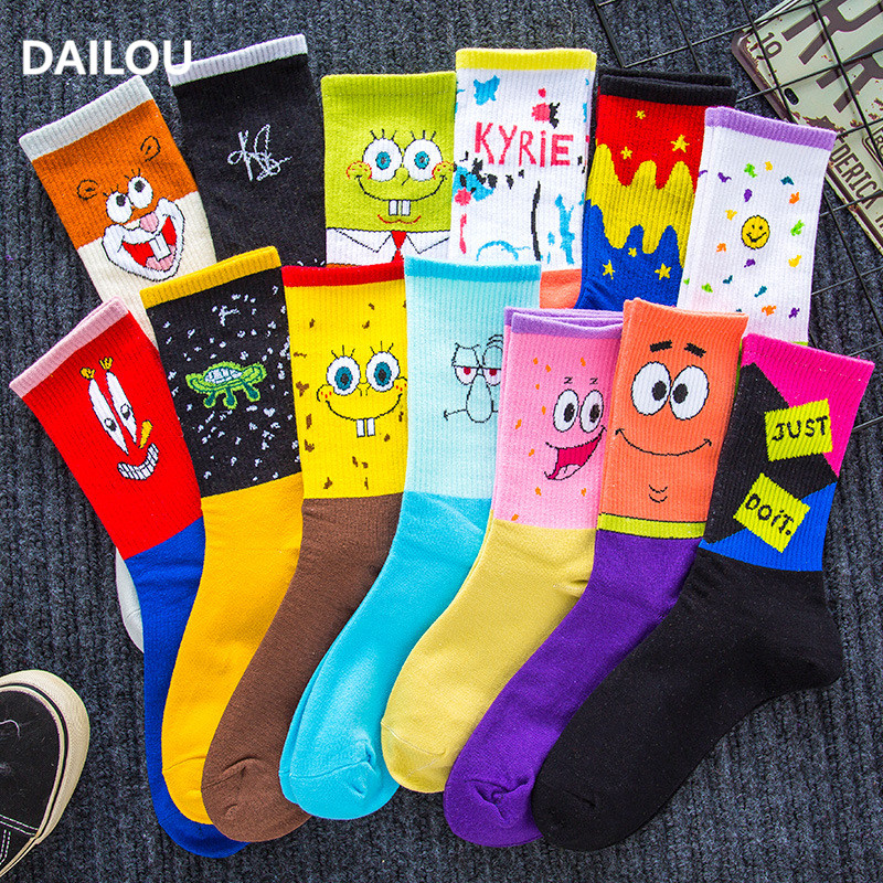 Cartoon Women Socks Couple Sponge Socks Bob Patrick Star Hip-hop Smiley Funny In Tube Socks Unisex Men Basketball Socks Gifts