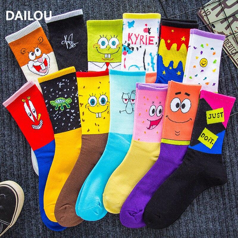 Cartoon Women Socks Couple Sponge Socks Bob Patrick Star Hip-hop Smiley Funny In Tube Socks Unisex Men Basketball Socks Gifts