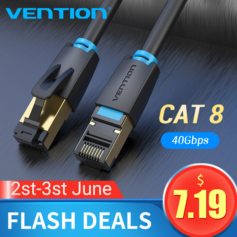 Vention Cat8 Ethernet Cable SSTP 40Gbps Super Speed Cat 8 RJ45 Network Cat7 Lan Patch Cord For Router Modem PC Ethernet Cable