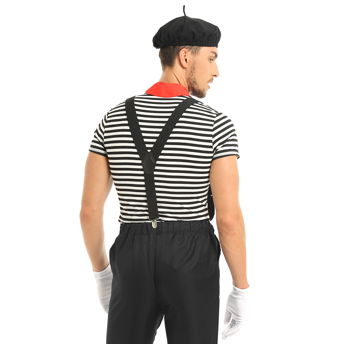 5Pcs Men French Artist Outfit Halloween Cosplay Costume Striped T-shirt Uniform