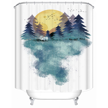 цена на Nordic abstract simple forest polyester printed waterproof shower curtain bathroom partition curtain factory direct sales