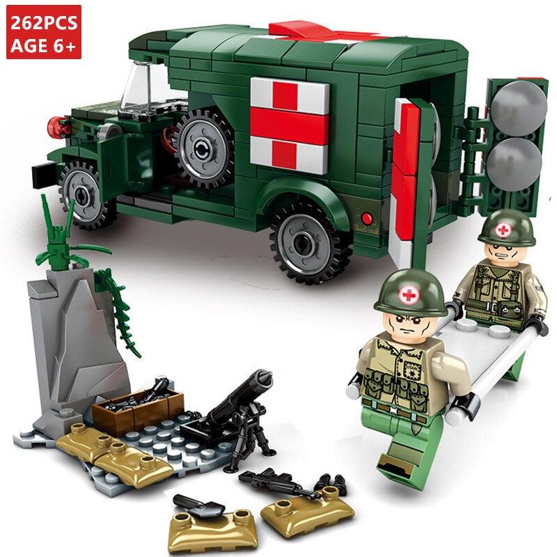 262Pcs T214-WC54 Military Ambulance Car Empires Of Steel Building Blocks Sets ARMY Playmobil Bricks LegoINGLs Toys Lepinblocks