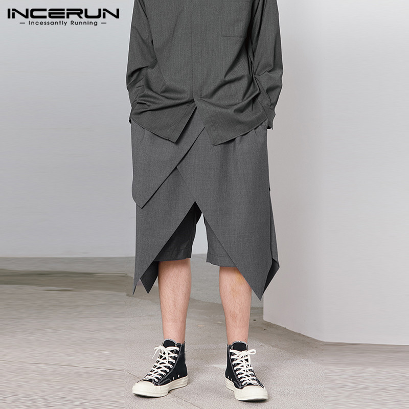 INCERUN Summer Fashion Men Shorts Personality 2020 Joggers Pockets Elastic Waist Irregular Shorts Men Streetwear Casual Trousers