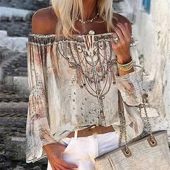 Women Blouse Shirt Off Shoulder Floral Print Blouse Shirts Lace-up Hollow Top Vintage Flare Sleeve L