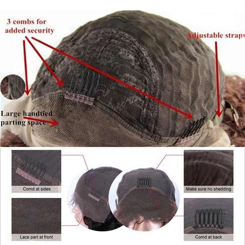 14-28 インチロング波状カールかつら緩いディープウェーブレースフロント毛のかつら密度フロントかつら事前摘み取らナチュラルかつらソフトかつら