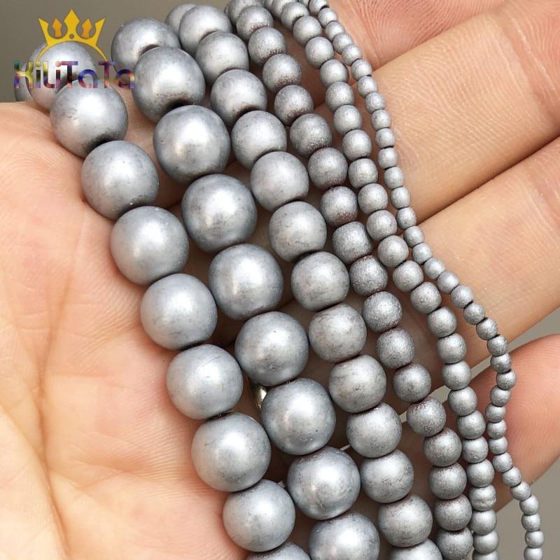 Dull Polish Matte Silver Plated Hematite Beads For Jewelry Making Natrual Round Stone Beads DIY Bracelet 15'' 2/3/4/6/8/10mm